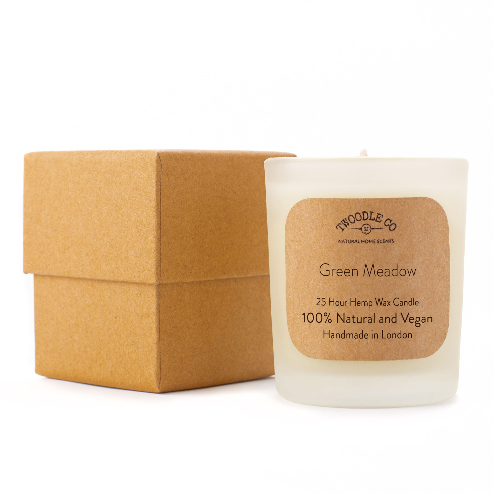 Green Meadow Small Scented Hemp Wax Christmas candle by Twoodle Co Natural Home Scents