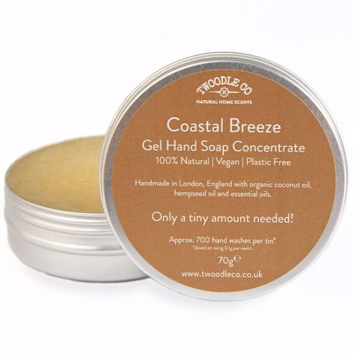 Coastal Breeze Gel Hand Soap Concerntrate by Twoodle Co Natural Home Scents Open Lid