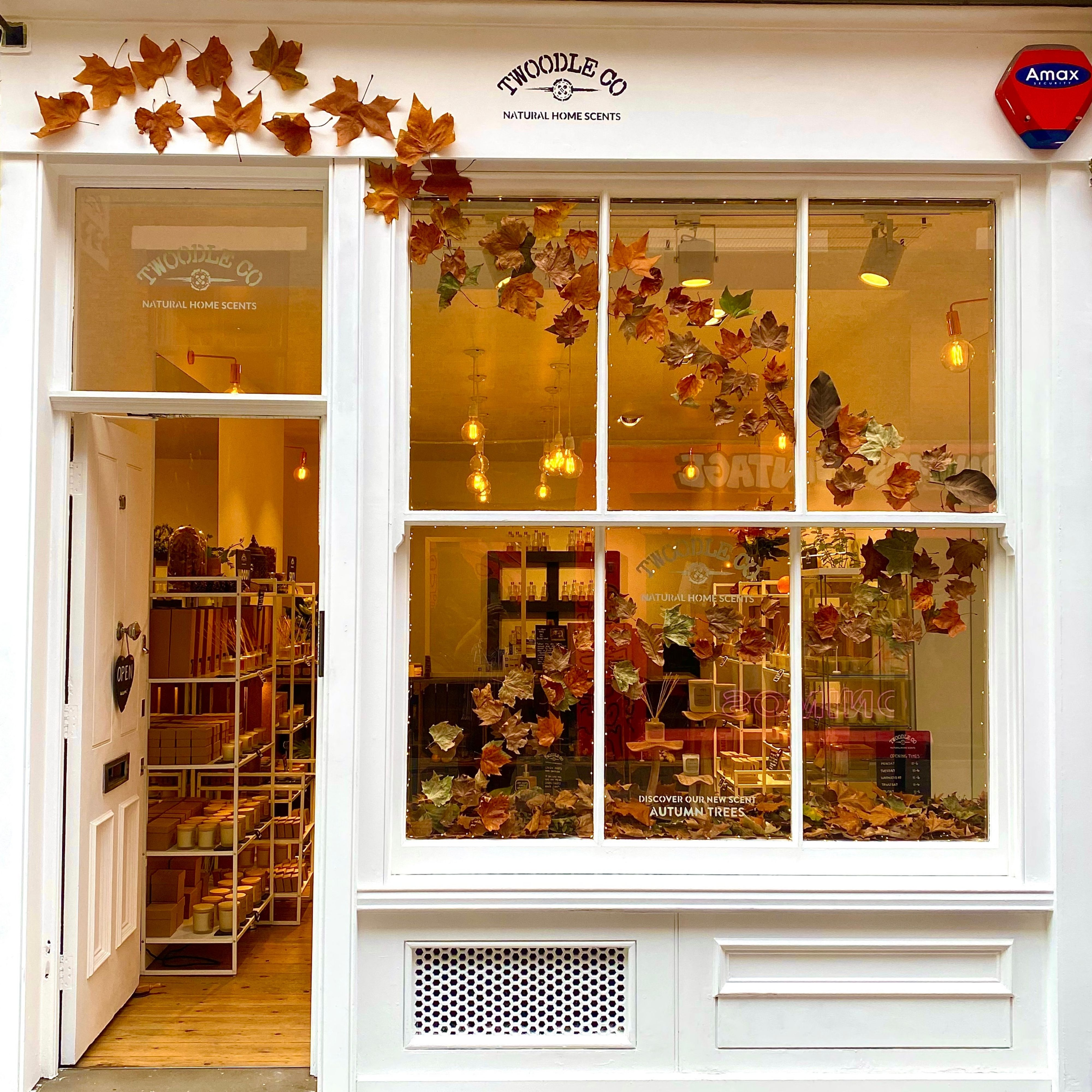 Autumn window display by Twoodle Co Natural Home Scents 10 Cheshire Street London E2 6EH