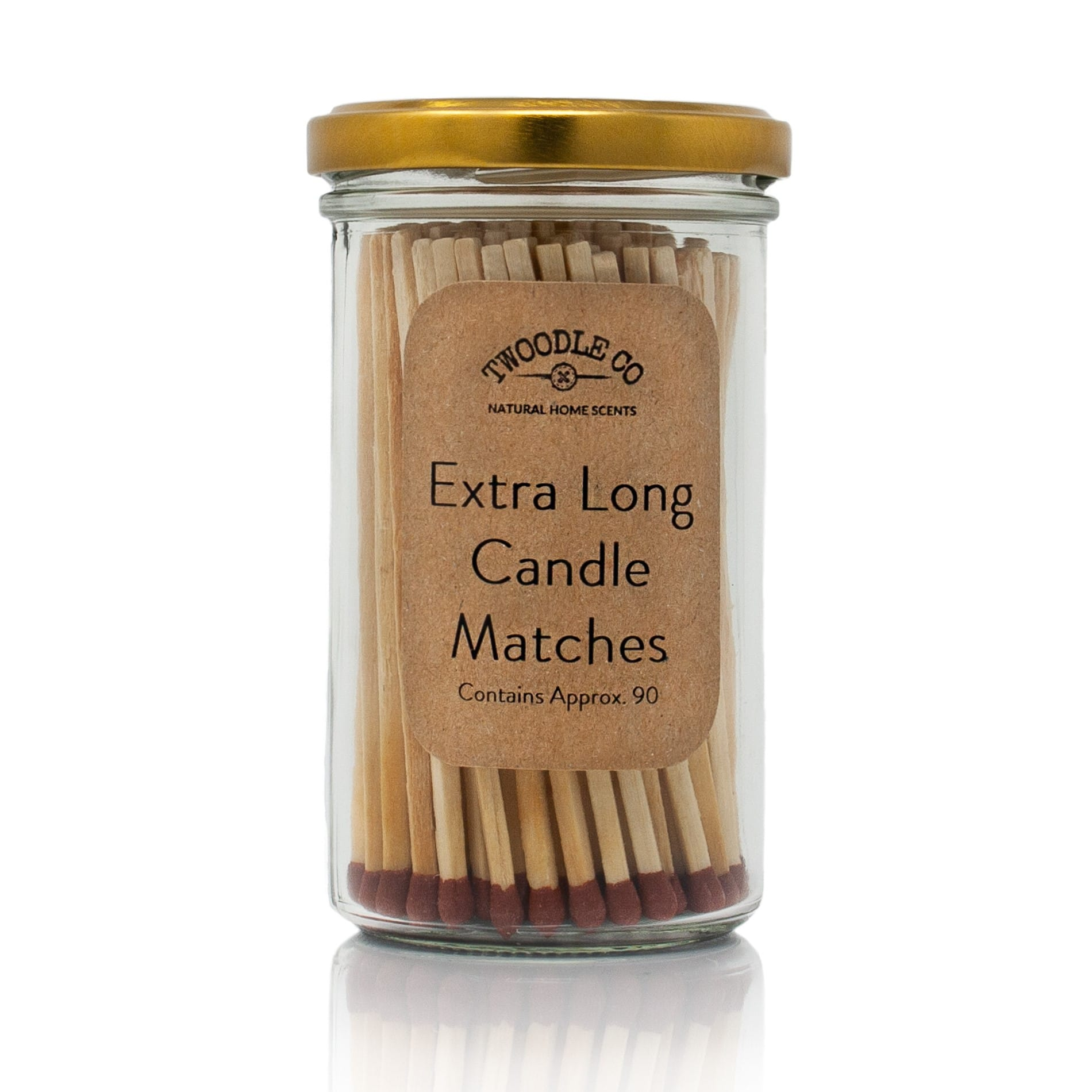 Extra long candle matches signature vintage jar and brass lid by Twoodle Co Natural Home Scents