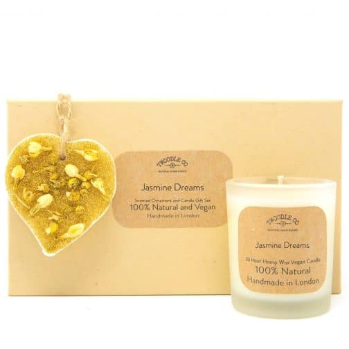 Jasmine Dreams Scented Ornament and Candle Gift Set by twoodle co natural home scents