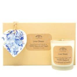 Linen Sheets Scented Ornament and Candle Gift Set by twoodle co natural home scents
