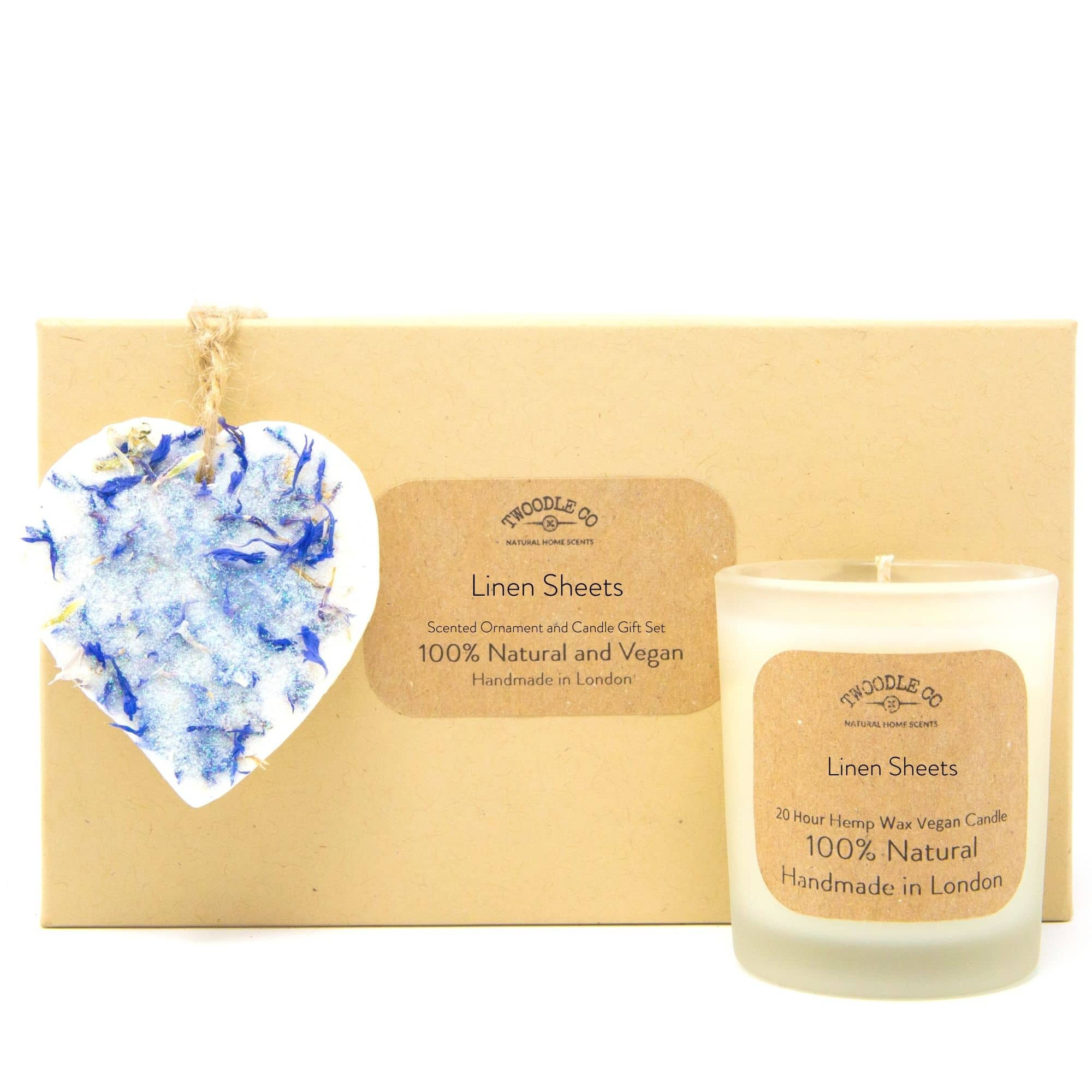 Linen Sheets | Scented Ornament and Candle Gift Set