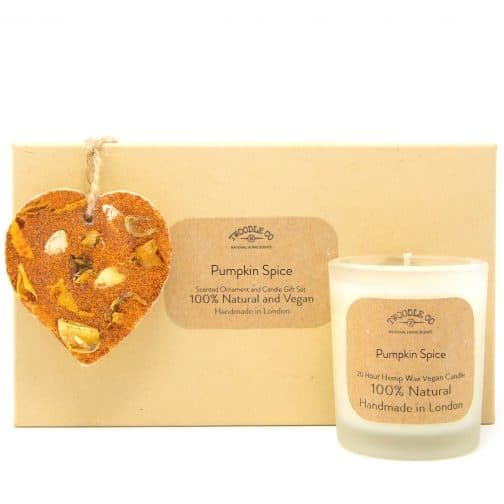 Pumpkin Spice Scented Ornament and Candle Gift Set by twoodle co natural home scents