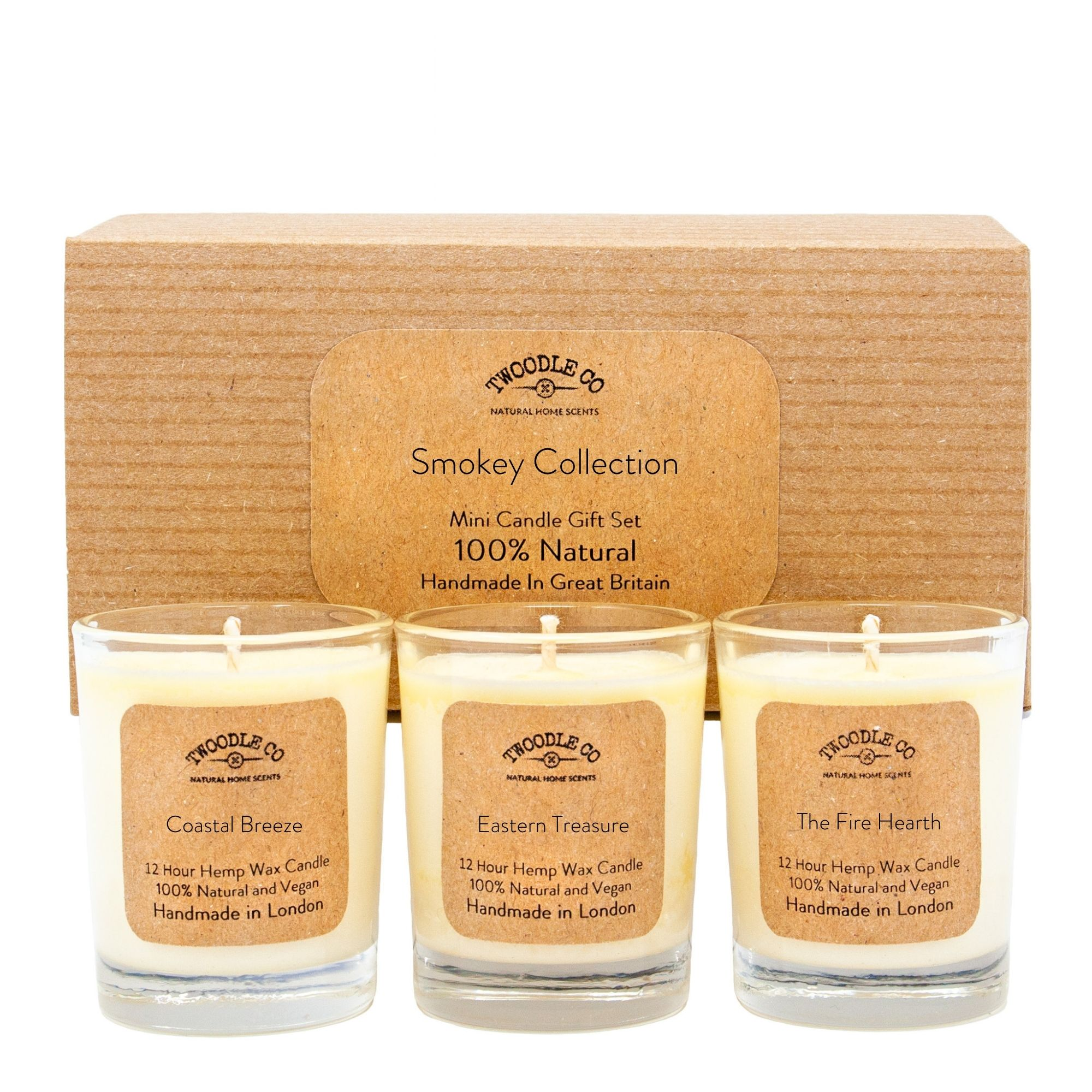 Smokey Collection Mini triple candle Gift Set by twoodle co natural home scents