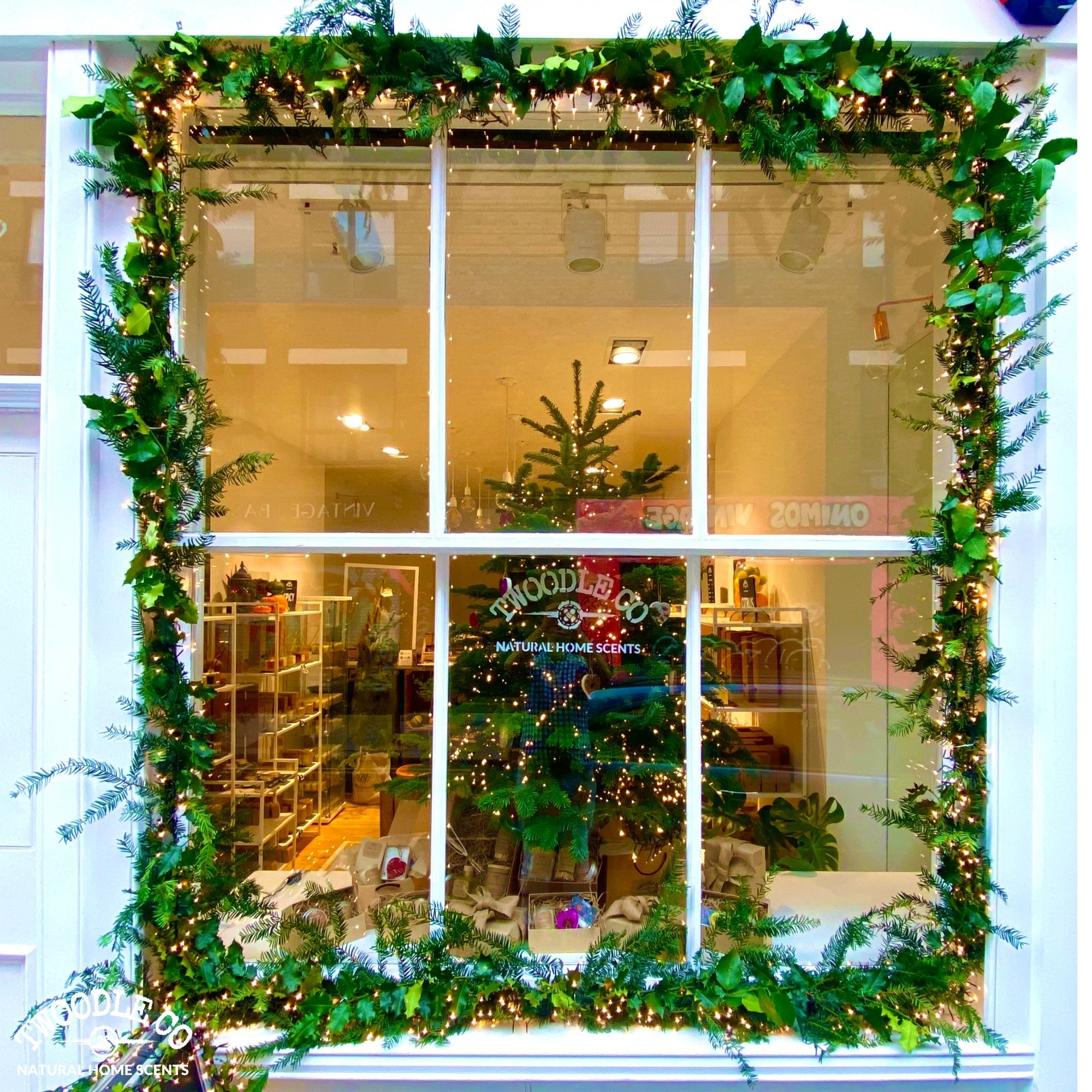 Christmas Window deck the halls byTwoodle co natural home scents