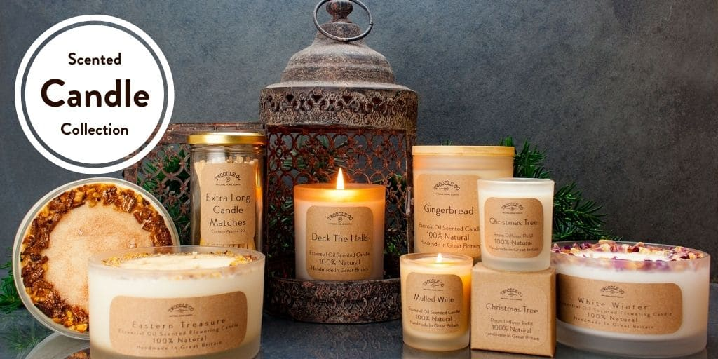 Christmas scented candle collection by twoodle co natural home scents