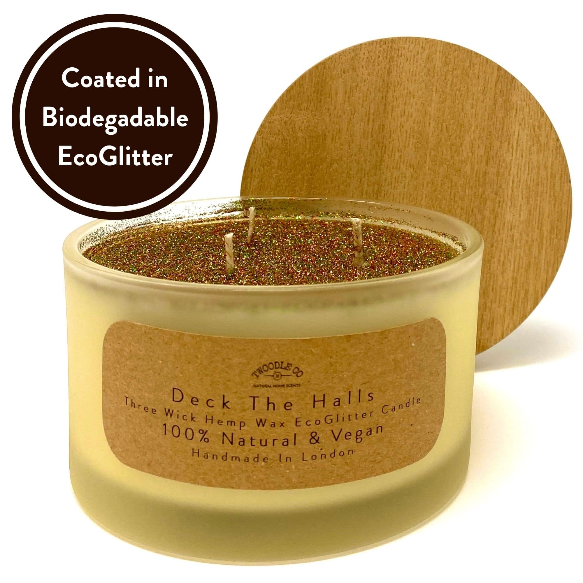 Deck The Halls Three wick scented candle coated in biodegradable Eco Glitter by Twoodle Co Natural Home Scents