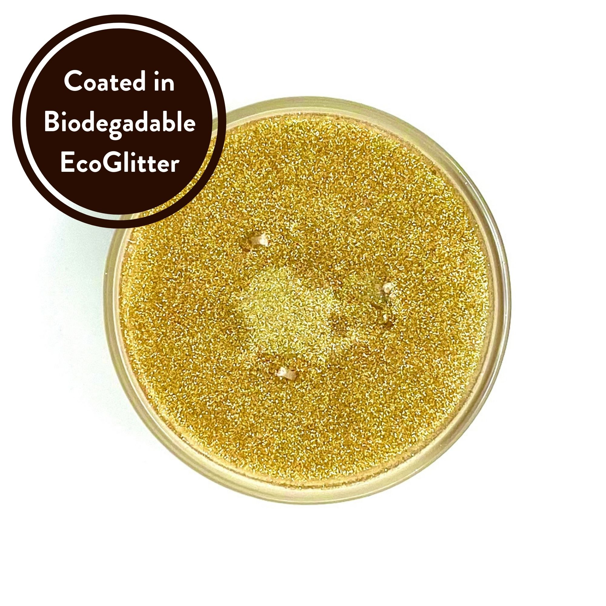 Eastern Treasure Three wick scented candle coated in biodegradable Eco Glitter Top view by Twoodle Co Natural Home Scents