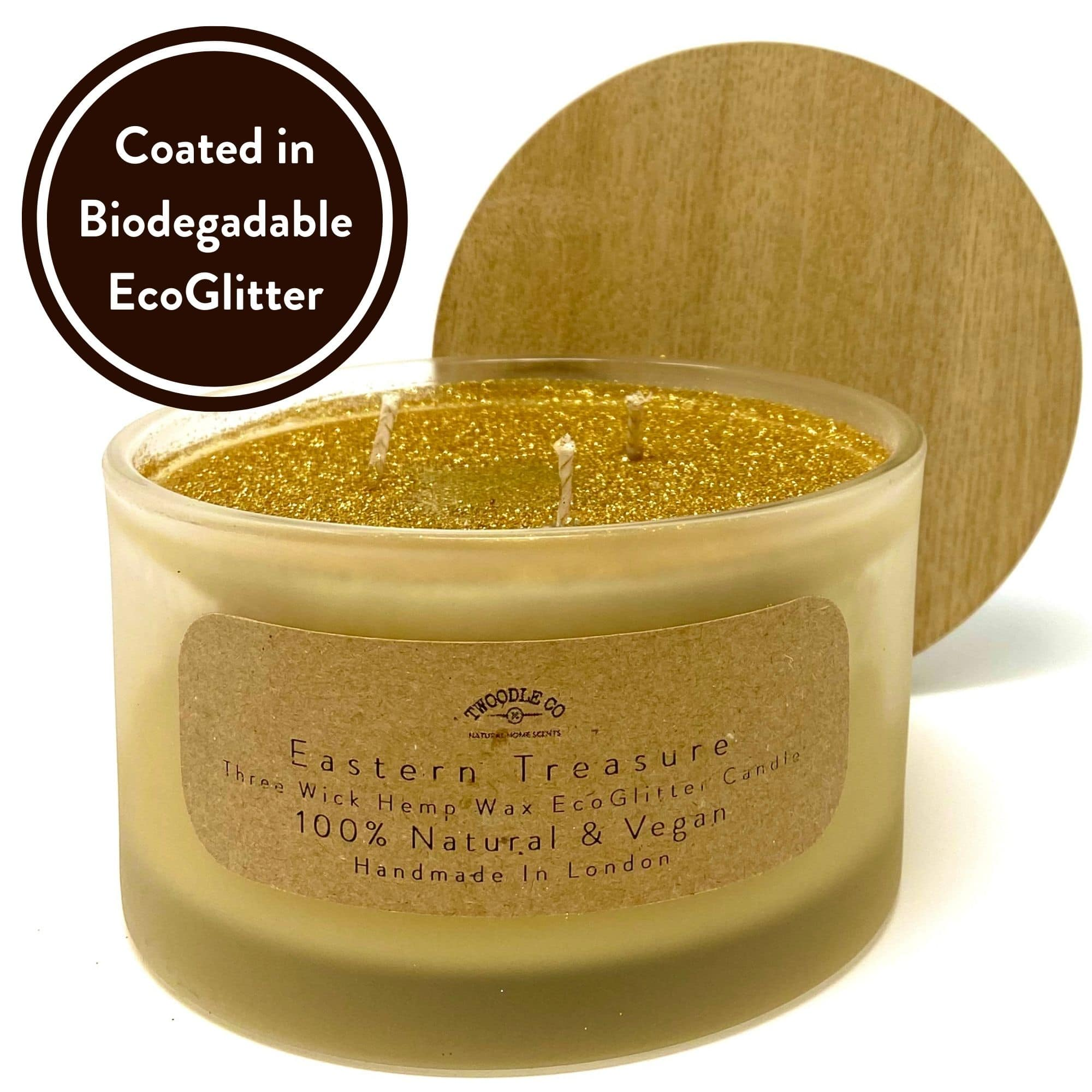 Eastern Treasure Three wick scented candle coated in biodegradable Eco Glitter by Twoodle Co Natural Home Scents
