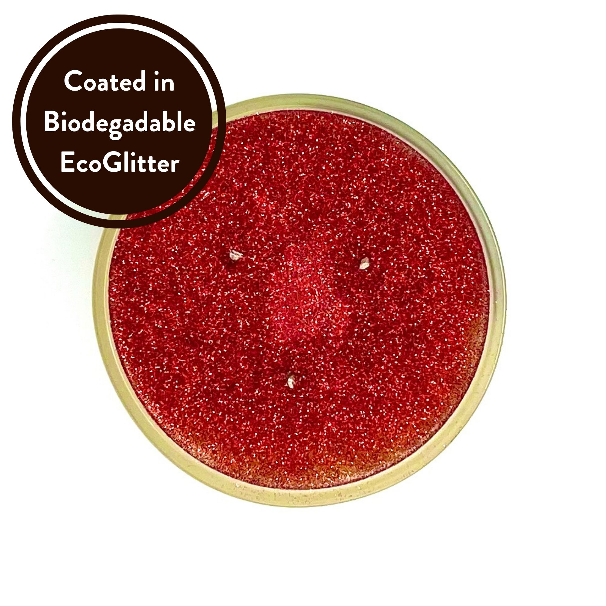 Mulled Wine Three wick scented candle coated in biodegradable Eco Glitter Top view by Twoodle Co Natural Home Scents