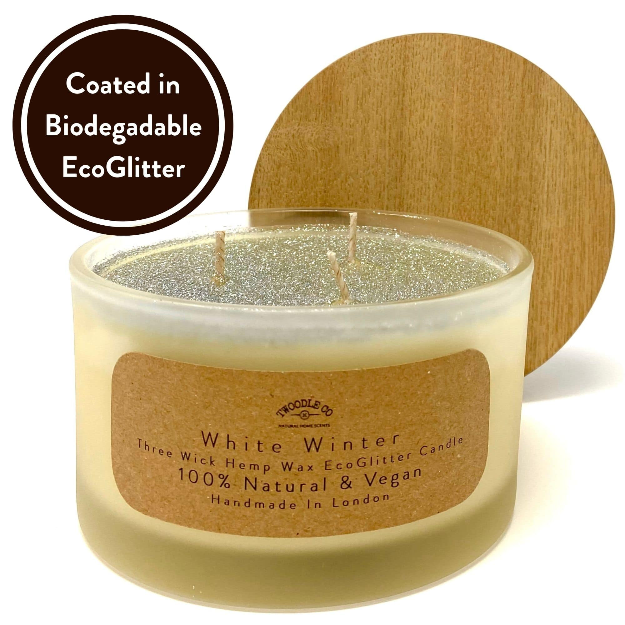 White Winter Three wick scented candle coated in biodegradable Eco Glitter by Twoodle Co Natural Home Scents