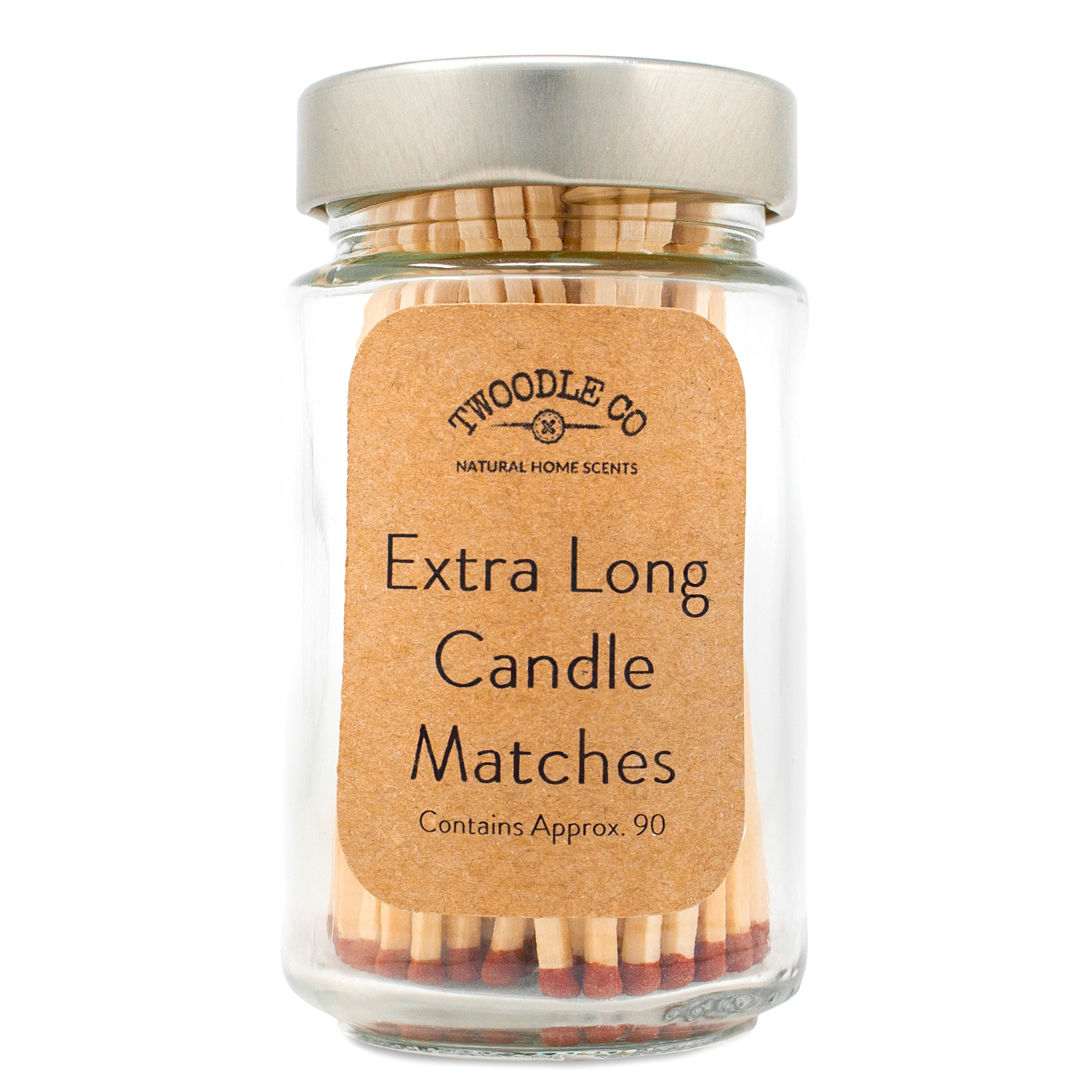 Extra long candle matches silver lid by Twoodle Co Natural Home Scents