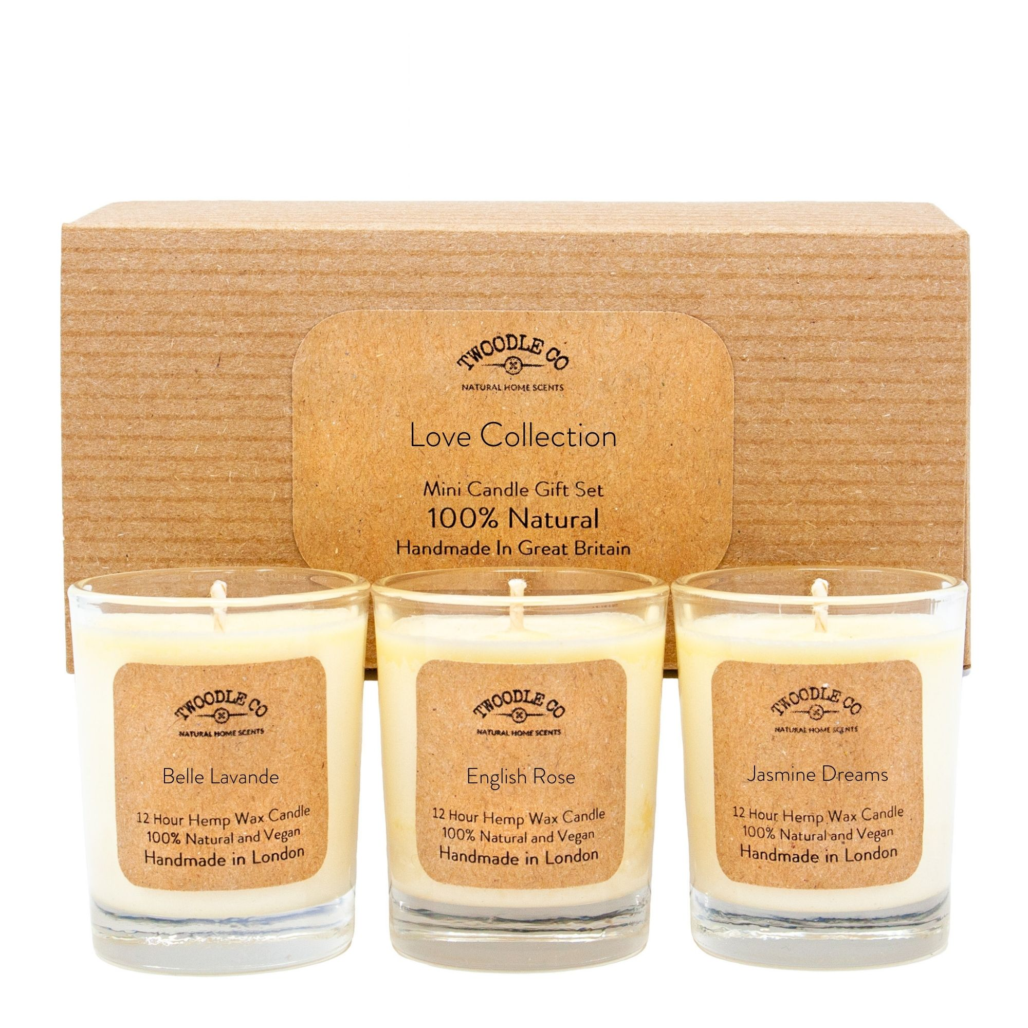 Love Collection Mini triple candle Gift Set by twoodle co natural home scents